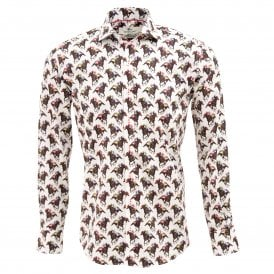 Horse Racing Print Mens Shirt
