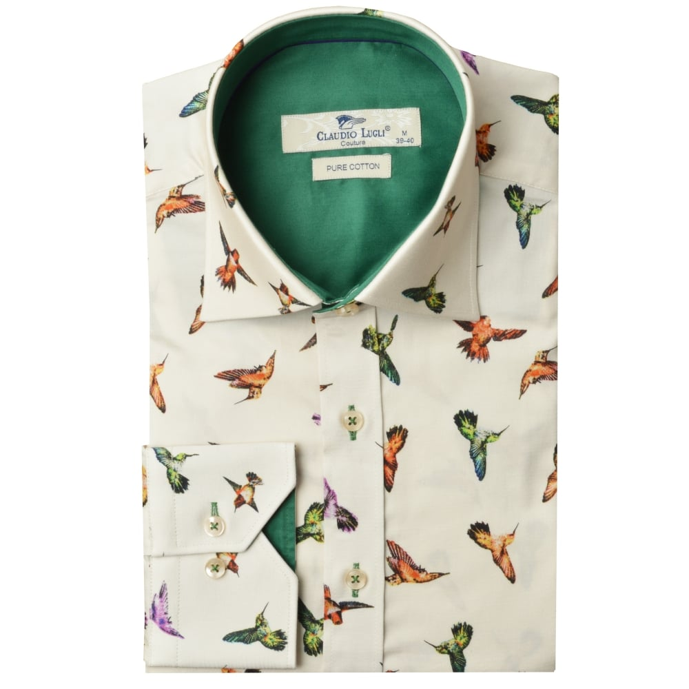 hummingbird print mens shirt