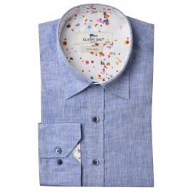 Linen Abstract Speckle Trim Mens Shirt