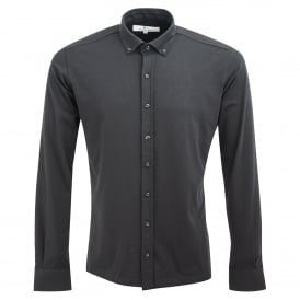 Long-Sleeved Stretch Jersey Cotton Mens Shirt