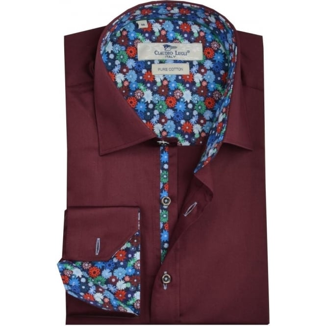 Claudio Lugli Luxurious Burgundy Mens Shirt
