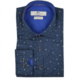 micro dot patterned mens shirt