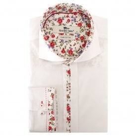 New 2018 White with Floral Trim Shirt