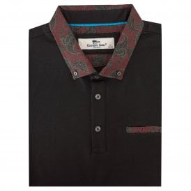 Paisley Patterned Regular Fit Pique Mens Polo T-shirt