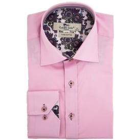 Pink Paisley Trim Mens Shirt