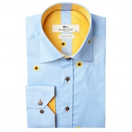 Pinstripe Sunflower Print Mens Shirt