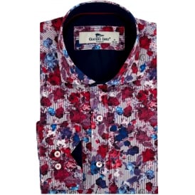 Red Floral Pinstripe Print Mens Shirt