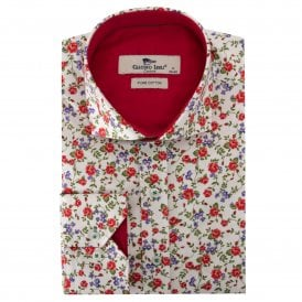 Red Flower Print Men's Shirt
