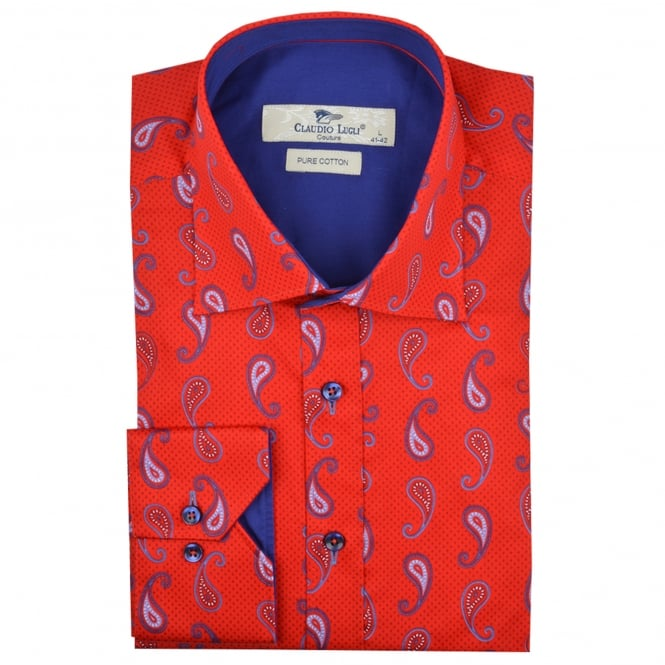 Claudio Lugli Red Paisley Patterned Mens Shirts