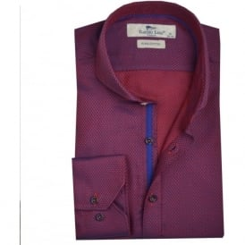 Red Two Tone Cutaway Collar Mens Shirt