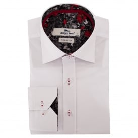 Rose Print Trim White Mens Shirt