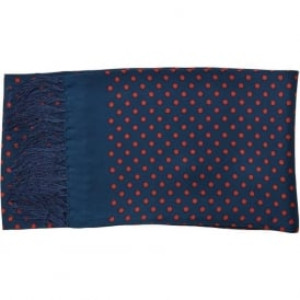 Silk Scarf in Navy Polka Dot
