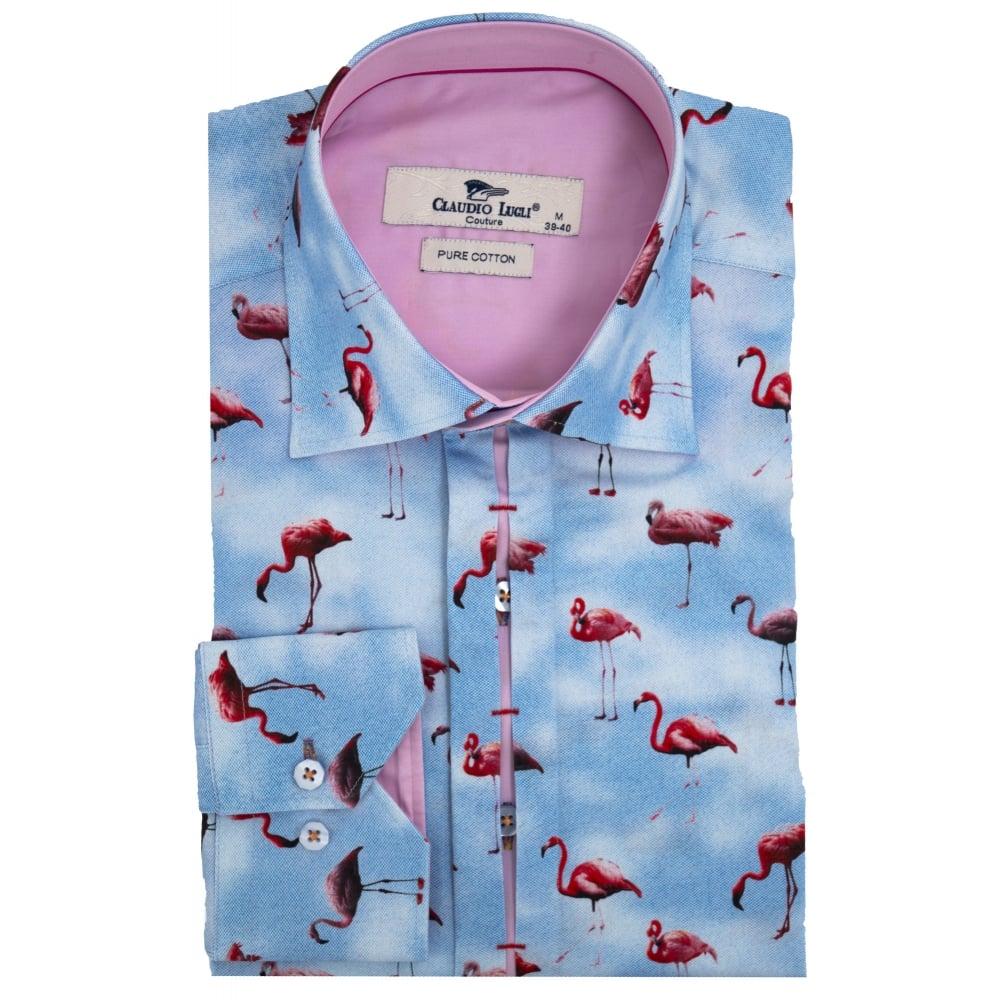 claudio lugli sky flamingo print mens shirt cp6271 the