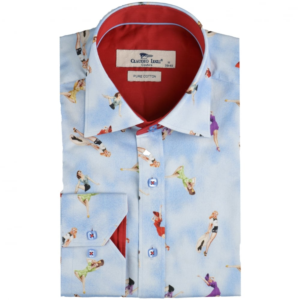 ae9463405b8b8 Claudio Lugli CP6288 Sky Pin Up Girl Print Mens Shirt