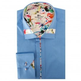 Claudio Lugli Splash Print Trim Men's Shirt