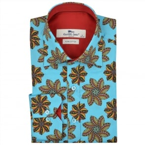 Claudio Lugli Star Fish Print Aqua Mens Shirt