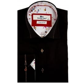 Stitch Collar Confetti Trim Print Mens Shirt