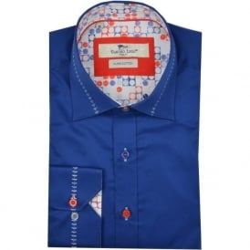 Stitich Collar Blue Circle Trim Mens Shirt