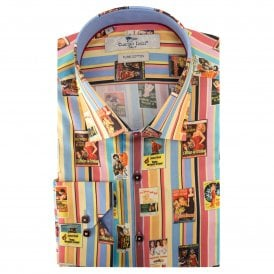 Striped Film Clip Print Men's Shirt