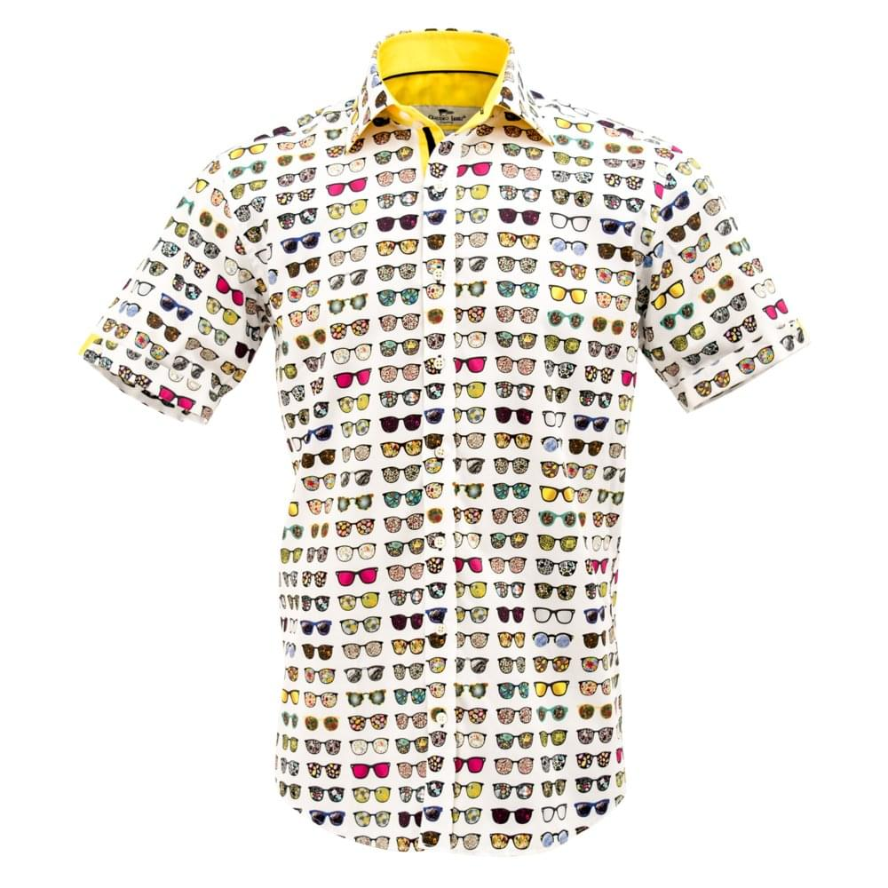 3db2d4b6a19 Claudio Lugli Sunglasses Print Short Sleeve Mens Shirt