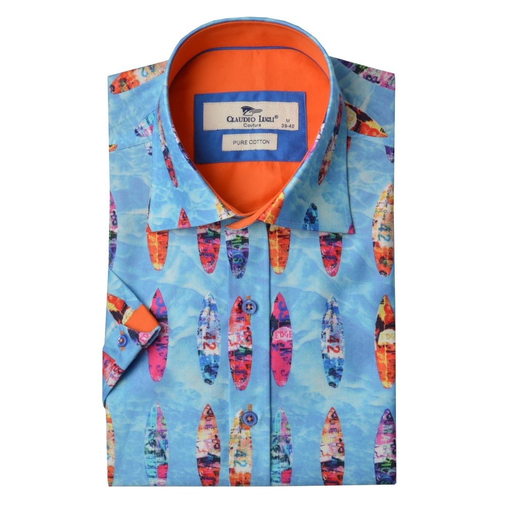 64723147a69 Claudio Lugli Surfboard Print Short Sleeve Mens Shirt