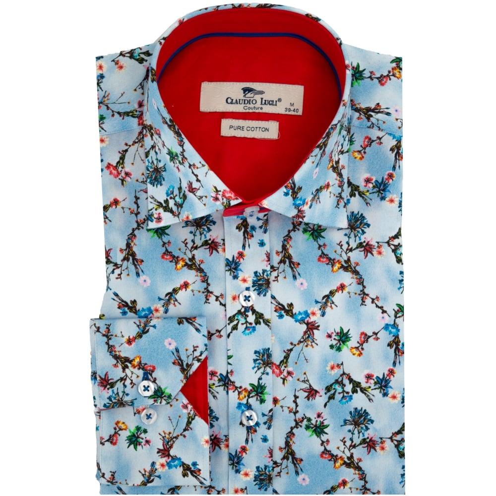 Claudio lugli cp6277 tie dye flower print mens shirt the for Flower print mens shirt