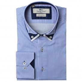 Triple Collar Stripe Mens Shirt