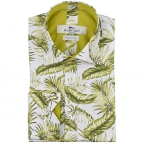 Claudio Lugli Tropical Leaf Print Mens Shirt