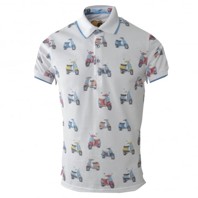 Claudio Lugli Vespa Print Pique Polo Mens T-Shirt