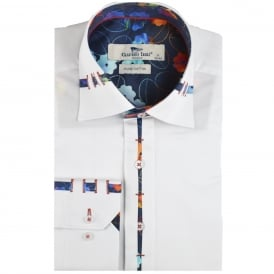 Vibrant Leaf Trim Collar Mens Shirt
