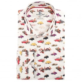 Vintage Classic Car with Pin-Up Girl Print Mens Shirt