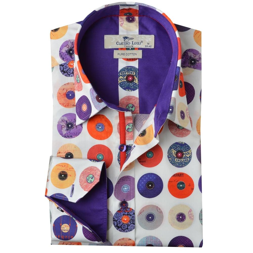 Claudio Lugli Mens Shirts Record Print Shirts The