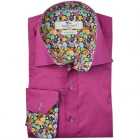 Violet Summer Flower Trim Mens Shirt