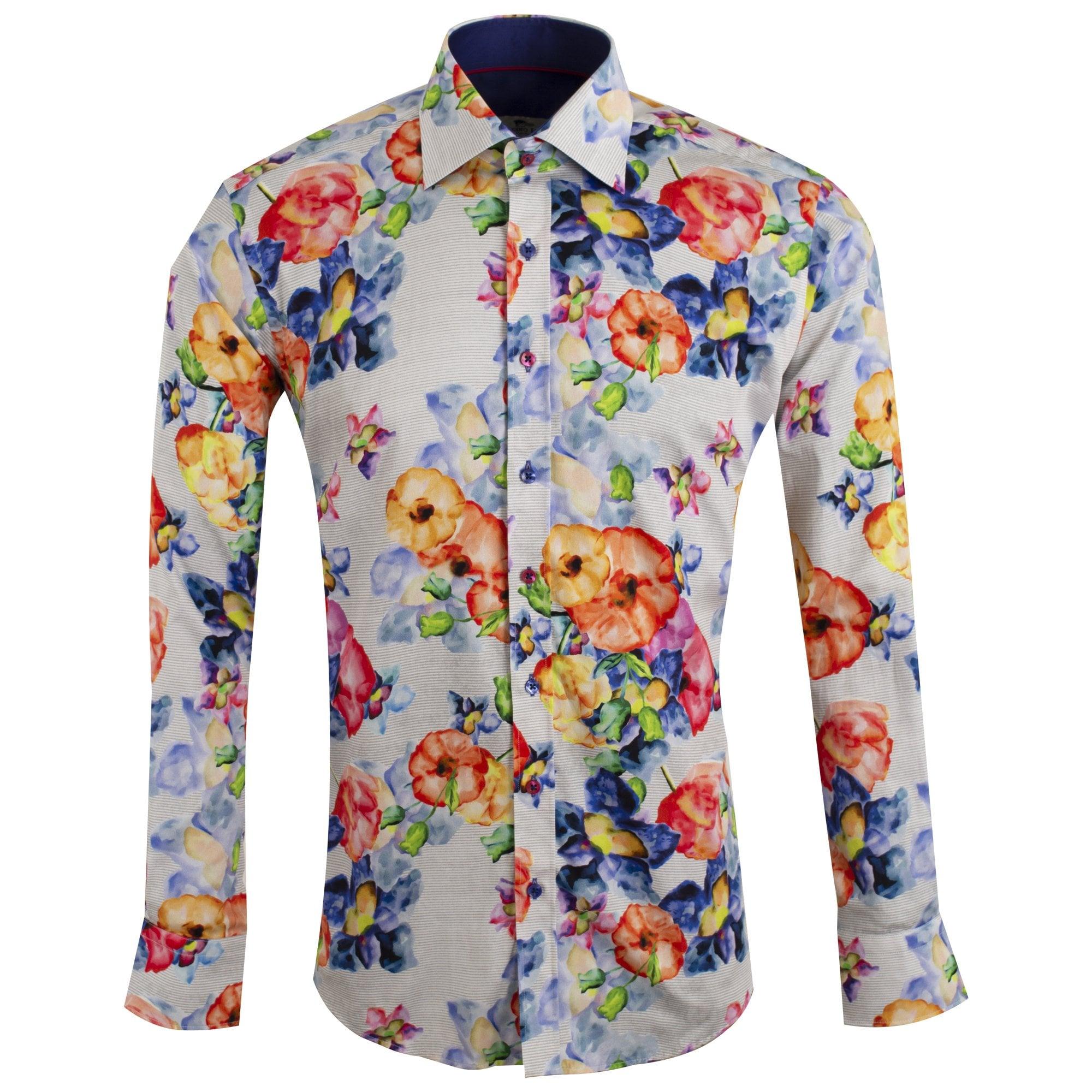 Claudio Lugli Floral Paint Splash Print White Shirt CP6599