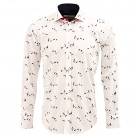 White Bird Print Mens Shirt
