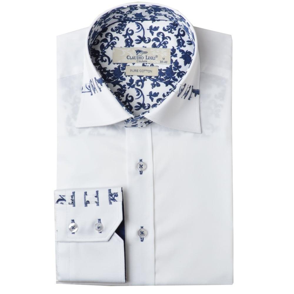 Claudio lugli shirts white claudio lugli mens shirts the for Mens white floral shirt