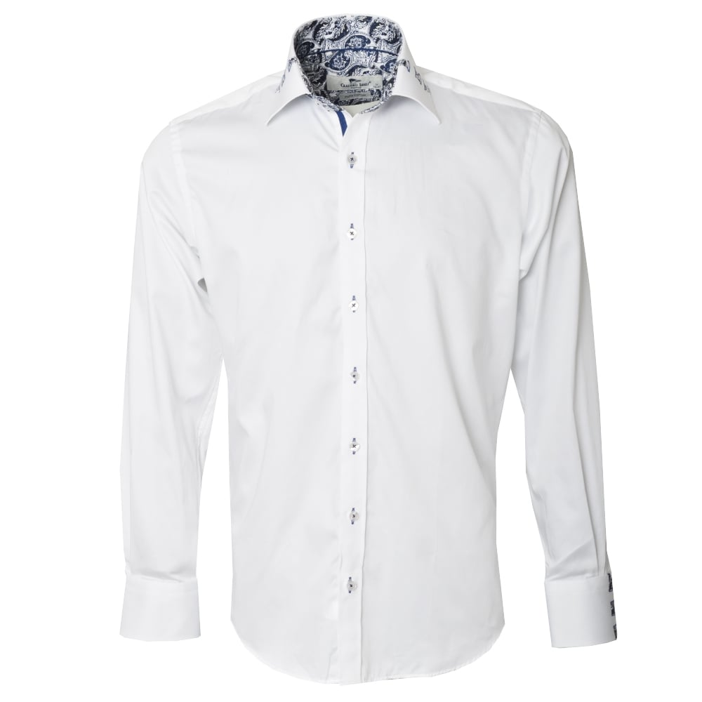 Claudio lugli white cp6150a mens shirts the shirt store for Mens white floral shirt