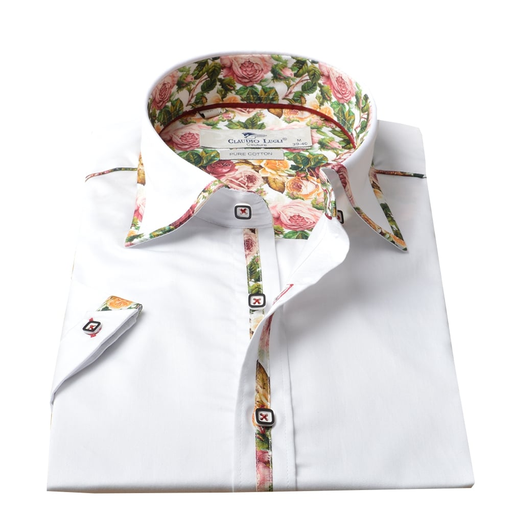Claudio Lugli Shirts | Floral Rose Mens Shirt | The Shirt Store