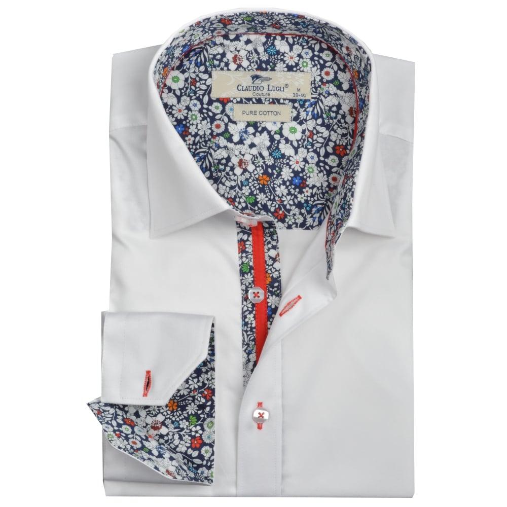 9a54338d1b1cfa Buy Claudio Lugli White Mens Long Sleeved Shirts   The Shirt Store