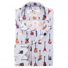 White Pinstripe Guitar Print Mens Shirt