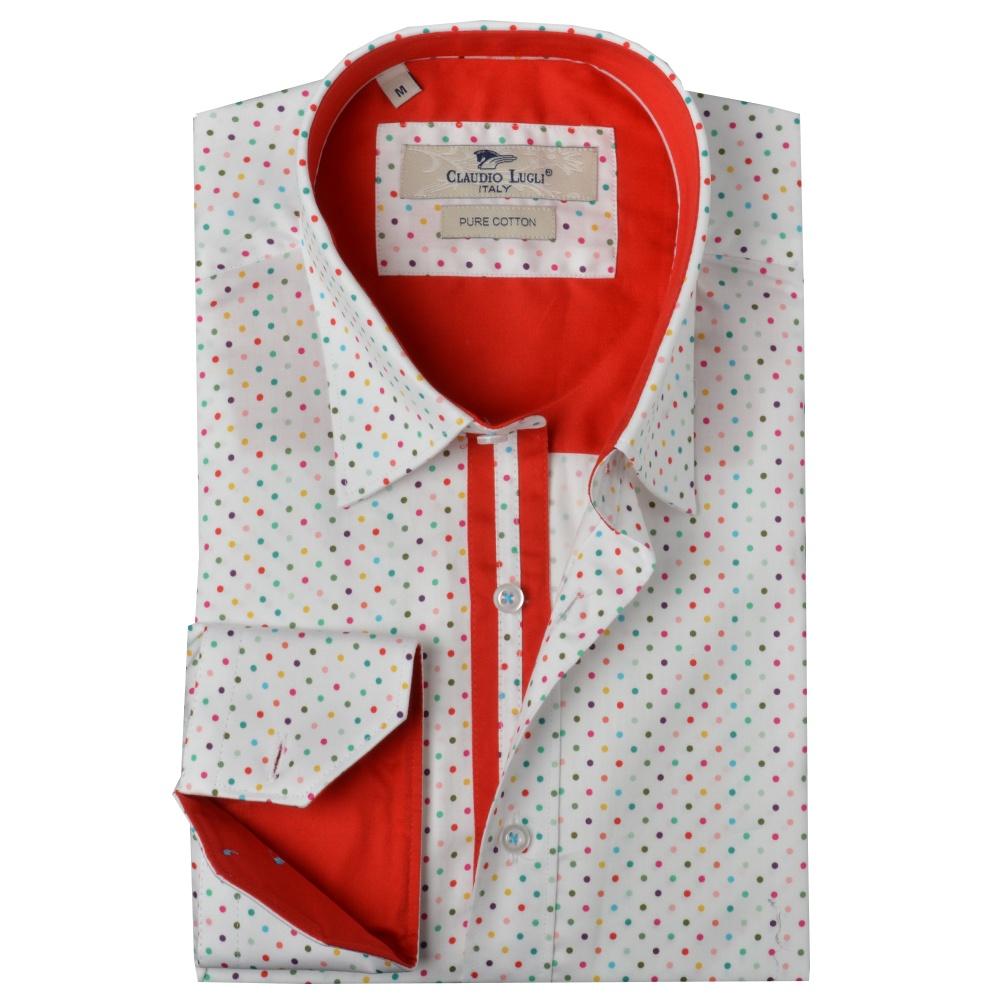 Buy claudio lugli online buy claudio lugli cp6038 shirt for White red polka dot shirt