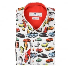 White Porsche Print Mens Shirt