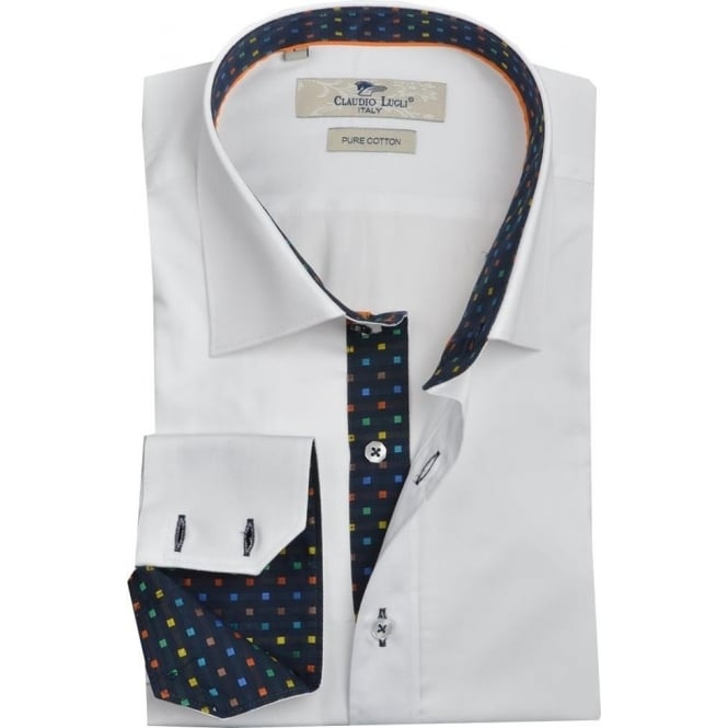 Claudio Lugli White Square Patterned Trim Mens Shirt