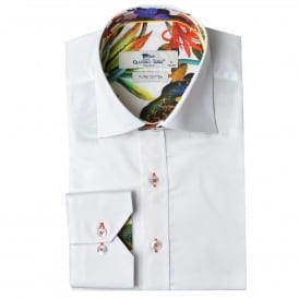 White Tropical Trim Mens Shirt