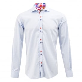 Woven Geometrical Pattern Splash Trim Mens Shirt