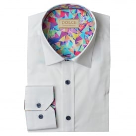 Abstract Trim Collar Mens Shirt