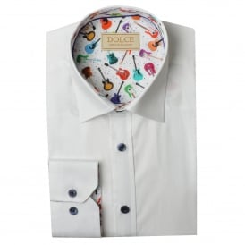 Guitar Trim Collar Mens Shirt