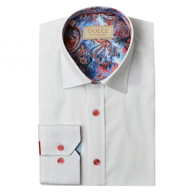 Dolce Paisley Trim Collar Mens Shirt
