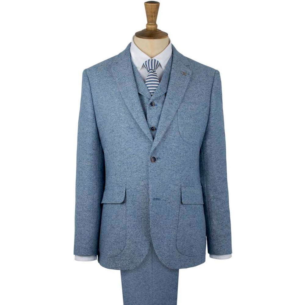 Gibson London Blue Contrast Donegal Jacket - Suits And Tailoring ...