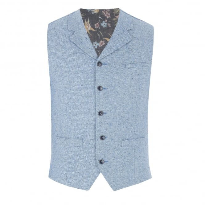Gibson London Blue Contrast Donegal Waistcoat